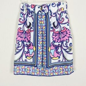 Lilly Pulitzer 100% Silk Floral Skirt XS